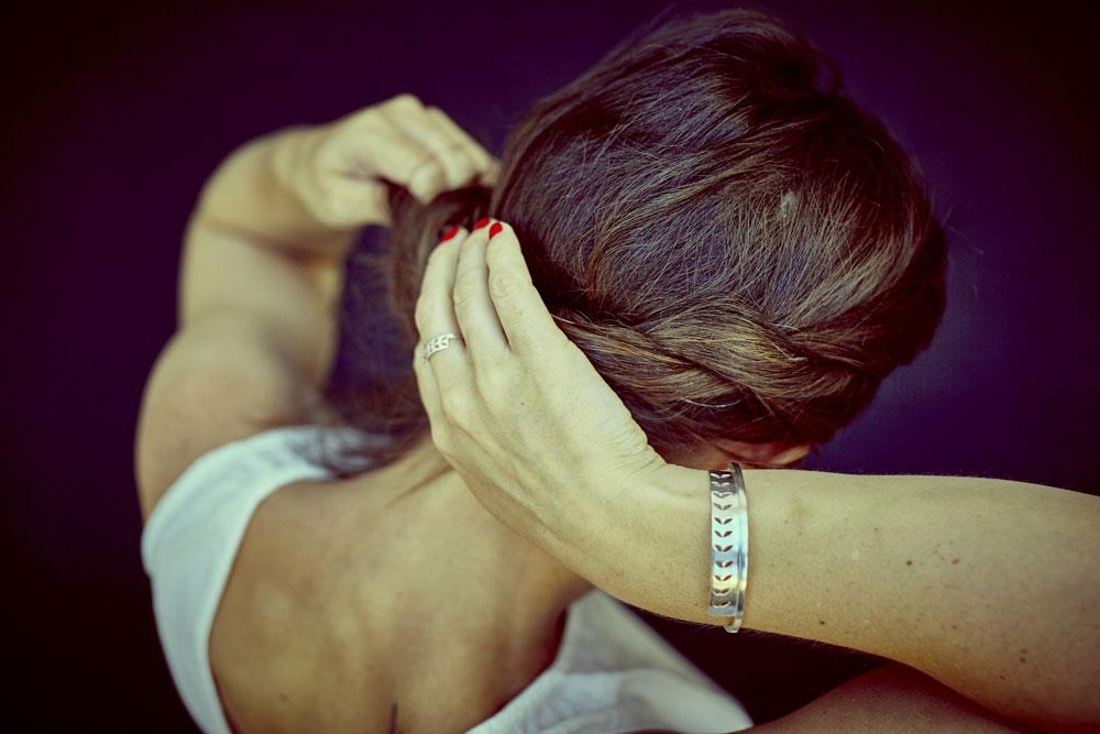 bracelet HONY argent massif , modèle feuille