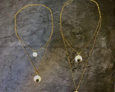 sautoir / collier double quand la lune rencontre le soleil – Vermeil & topaze