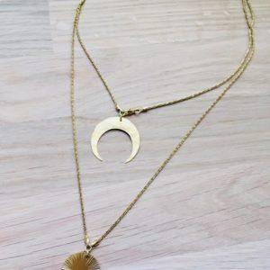 hony collier lune et soleil vermeil chaine diamantée