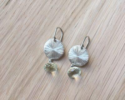 Boucles petits soleils en argent et fluorite