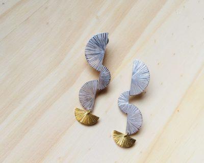 Boucles corail argent et vermeil